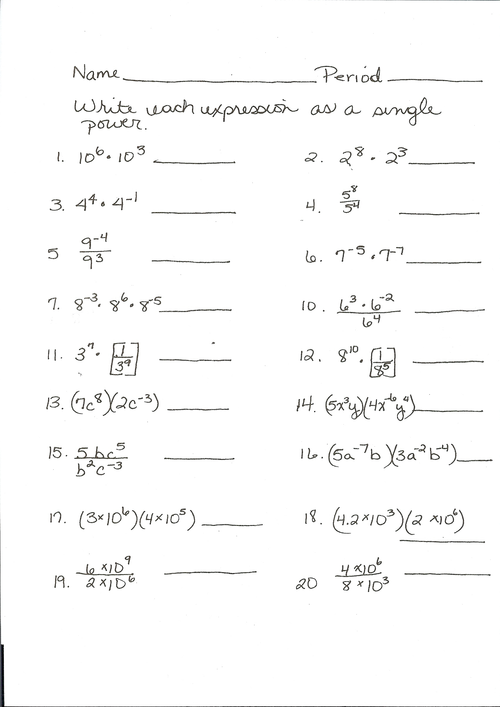 worksheet Exponent Practice Duliziyou Worksheets for Elementary – Exponent Laws Worksheet
